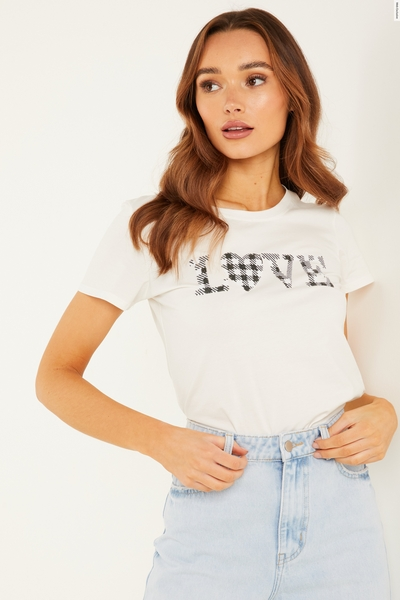 White Gingham Slogan T Shirt